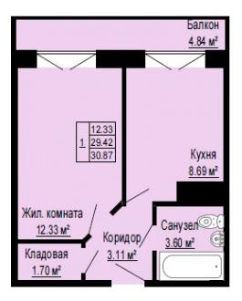 Планировка Однокомнатная квартира площадью 30.87 кв.м в ЖК «Альпийская деревня»