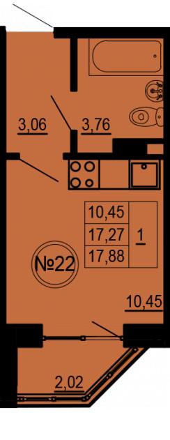 Планировка Студия площадью 17.88 кв.м в ЖК «Альпийская деревня»