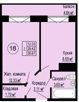 Планировка Однокомнатная квартира площадью 30.93 кв.м в ЖК «Альпийская деревня»