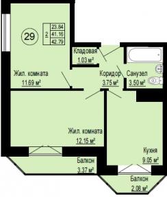 Планировка Двухкомнатная квартира площадью 42.79 кв.м в ЖК «Альпийская деревня»