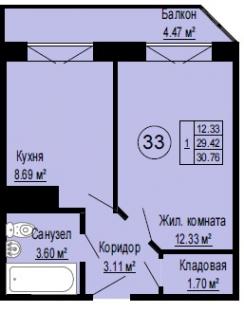 Планировка Однокомнатная квартира площадью 30.82 кв.м в ЖК «Альпийская деревня»