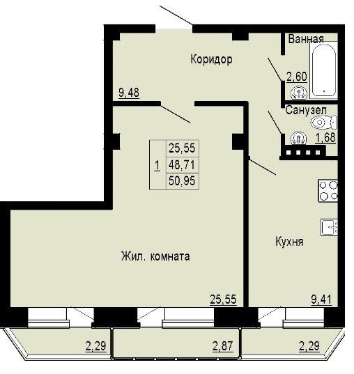 Планировка Двухкомнатная квартира (Евро) площадью 50.95 кв.м в ЖК «Альпийская деревня»
