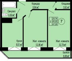 Планировка Двухкомнатная квартира площадью 47.45 кв.м в ЖК «Альпийская деревня»